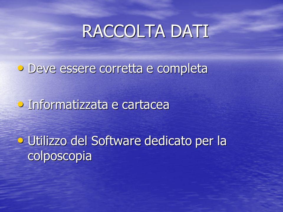 RACCOLTA DATI RACCOLTA DATI Deve essere corretta e completa Deve essere corretta e completa Informatizzata e cartacea Informatizzata e cartacea Utiliz