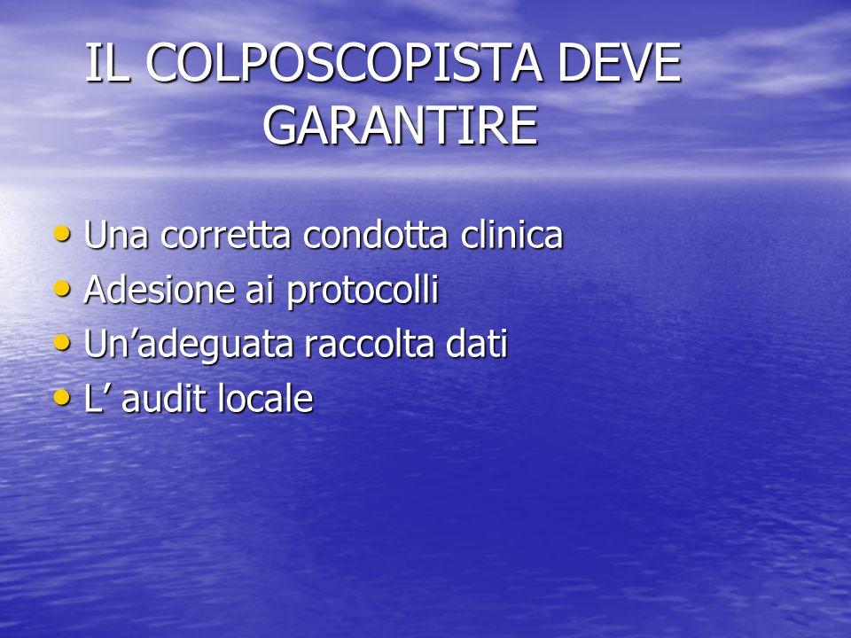 IL COLPOSCOPISTA DEVE GARANTIRE IL COLPOSCOPISTA DEVE GARANTIRE Una corretta condotta clinica Una corretta condotta clinica Adesione ai protocolli Ade