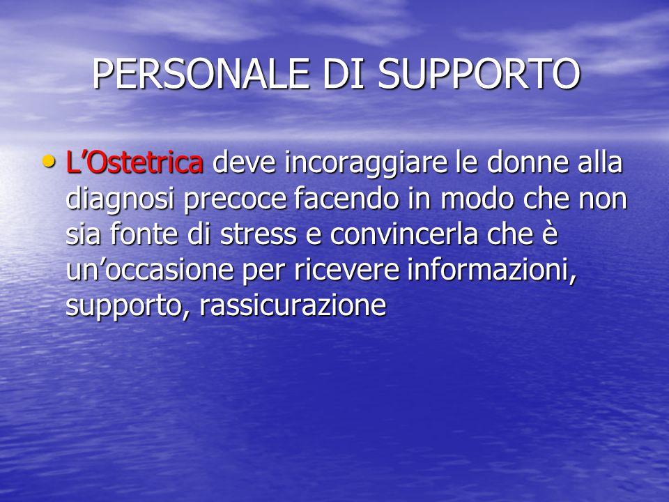 PERSONALE DI SUPPORTO PERSONALE DI SUPPORTO L'Ostetrica deve incoraggiare le donne alla diagnosi precoce facendo in modo che non sia fonte di stress e