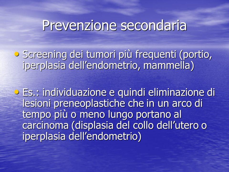 Prevenzione secondaria Screening dei tumori più frequenti (portio, iperplasia dell'endometrio, mammella) Screening dei tumori più frequenti (portio, i