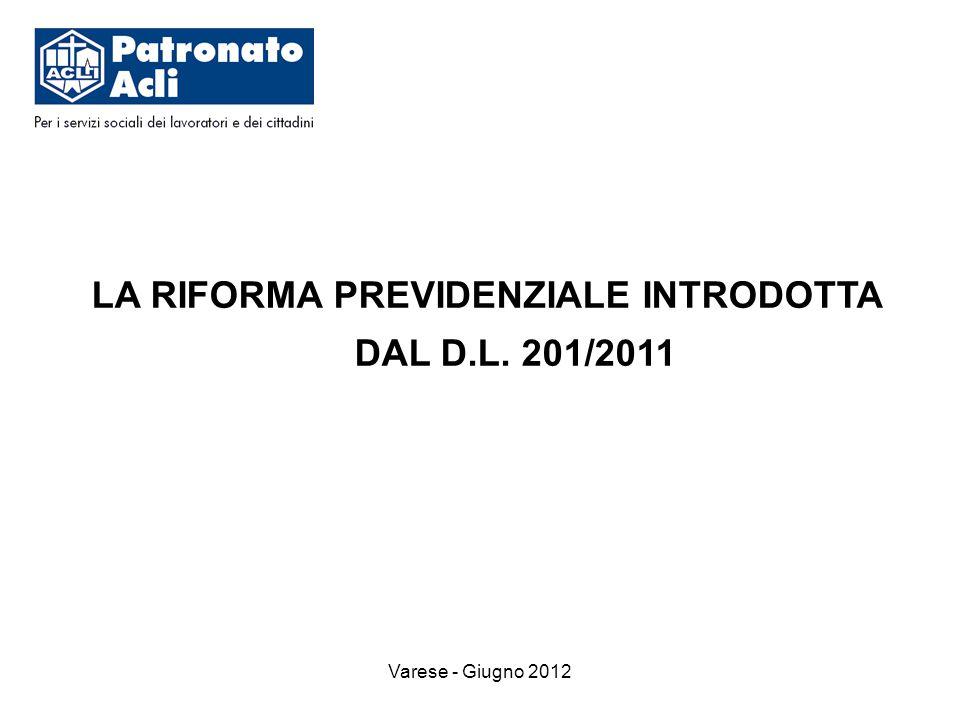 Varese - Giugno 2012 LA RIFORMA PREVIDENZIALE INTRODOTTA DAL D.L. 201/2011