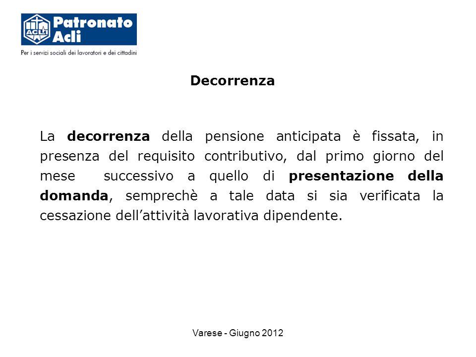 Varese - Giugno 2012 Decorrenza La decorrenza della pensione anticipata è fissata, in presenza del requisito contributivo, dal primo giorno del mese successivo a quello di presentazione della domanda, semprechè a tale data si sia verificata la cessazione dell'attività lavorativa dipendente.