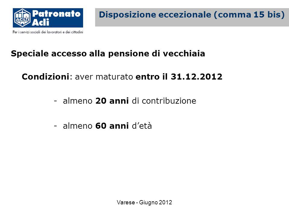 Varese - Giugno 2012 Speciale accesso alla pensione di vecchiaia Condizioni: aver maturato entro il 31.12.2012 - almeno 20 anni di contribuzione - almeno 60 anni d'età La pensione di vecchiaia Disposizione eccezionale (comma 15 bis)