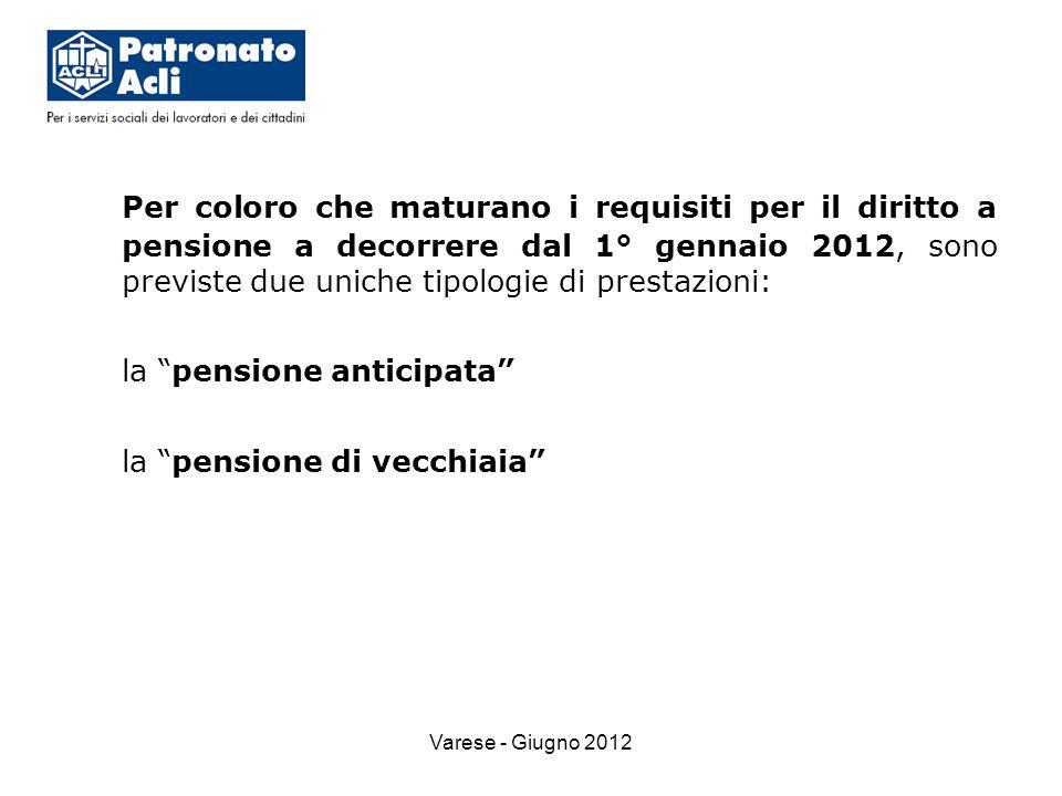 Varese - Giugno 2012 Per coloro che maturano i requisiti per il diritto a pensione a decorrere dal 1° gennaio 2012, sono previste due uniche tipologie di prestazioni: la pensione anticipata la pensione di vecchiaia