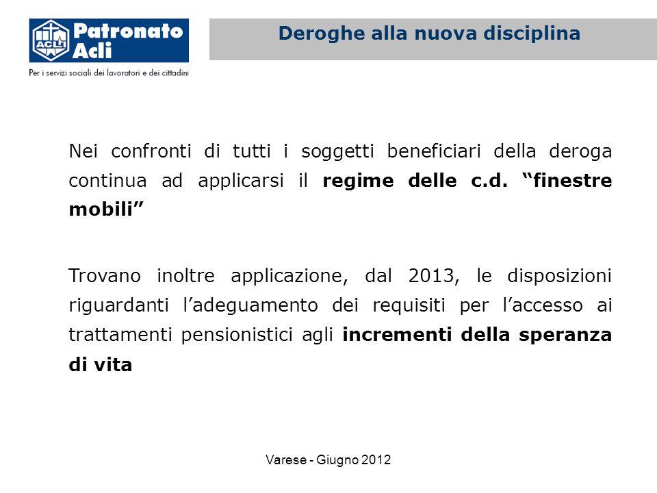 Varese - Giugno 2012 Nei confronti di tutti i soggetti beneficiari della deroga continua ad applicarsi il regime delle c.d.