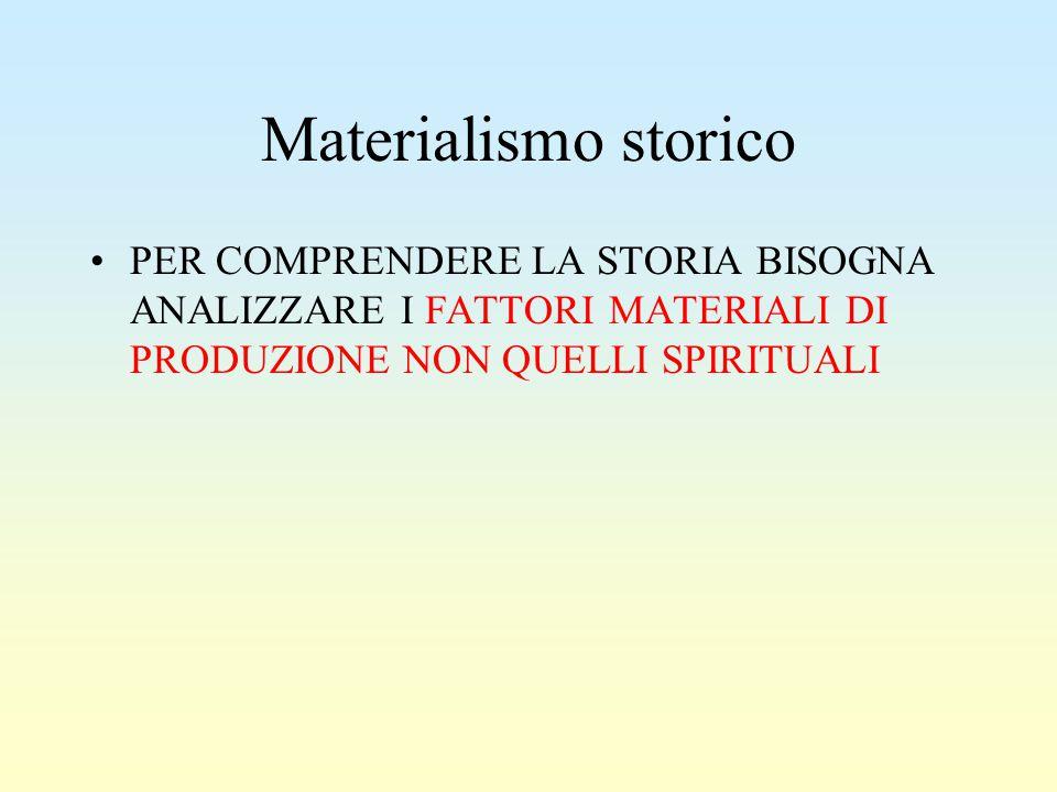 Materialismo storico PER COMPRENDERE LA STORIA BISOGNA ANALIZZARE I FATTORI MATERIALI DI PRODUZIONE NON QUELLI SPIRITUALI