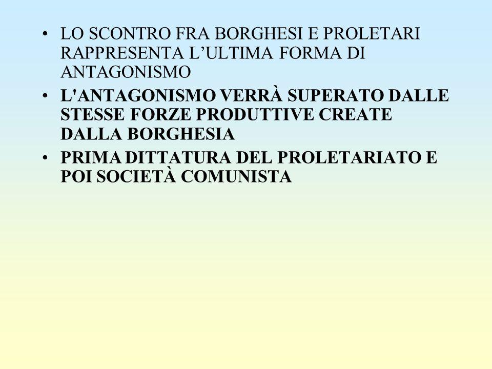 LO SCONTRO FRA BORGHESI E PROLETARI RAPPRESENTA L'ULTIMA FORMA DI ANTAGONISMO L'ANTAGONISMO VERRÀ SUPERATO DALLE STESSE FORZE PRODUTTIVE CREATE DALLA
