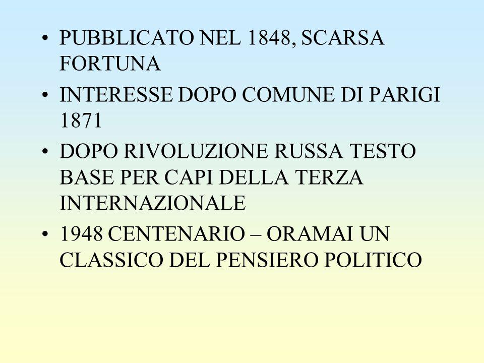 PUBBLICATO NEL 1848, SCARSA FORTUNA INTERESSE DOPO COMUNE DI PARIGI 1871 DOPO RIVOLUZIONE RUSSA TESTO BASE PER CAPI DELLA TERZA INTERNAZIONALE 1948 CENTENARIO – ORAMAI UN CLASSICO DEL PENSIERO POLITICO