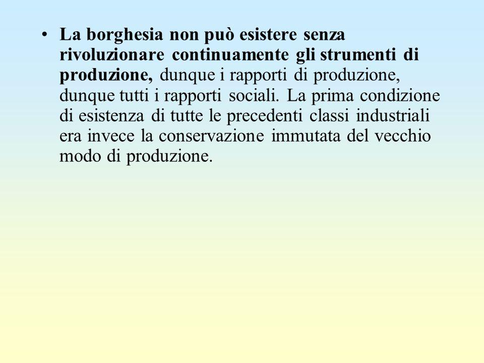 La borghesia non può esistere senza rivoluzionare continuamente gli strumenti di produzione, dunque i rapporti di produzione, dunque tutti i rapporti