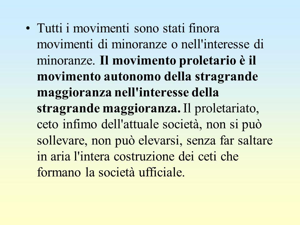 Tutti i movimenti sono stati finora movimenti di minoranze o nell'interesse di minoranze. Il movimento proletario è il movimento autonomo della stragr