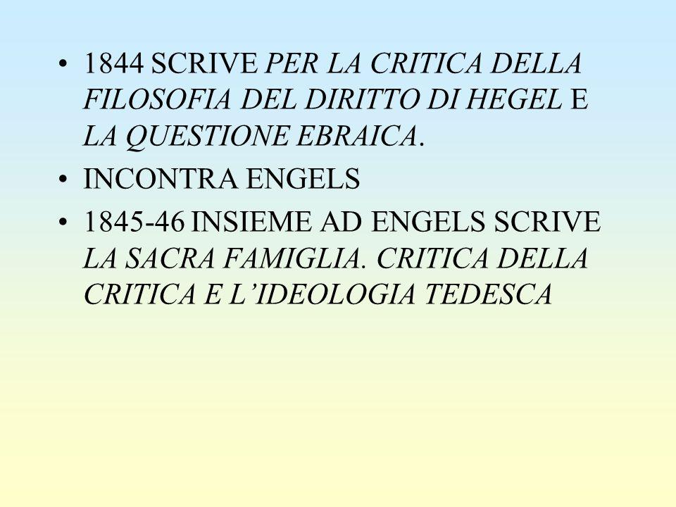 1844 SCRIVE PER LA CRITICA DELLA FILOSOFIA DEL DIRITTO DI HEGEL E LA QUESTIONE EBRAICA. INCONTRA ENGELS 1845-46 INSIEME AD ENGELS SCRIVE LA SACRA FAMI