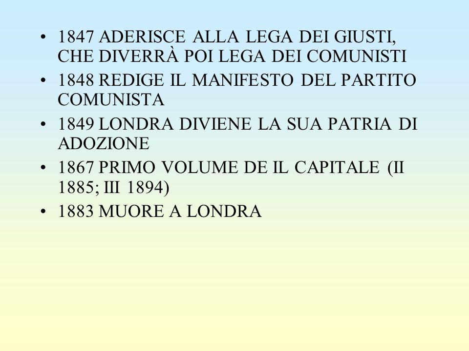 1847 ADERISCE ALLA LEGA DEI GIUSTI, CHE DIVERRÀ POI LEGA DEI COMUNISTI 1848 REDIGE IL MANIFESTO DEL PARTITO COMUNISTA 1849 LONDRA DIVIENE LA SUA PATRI