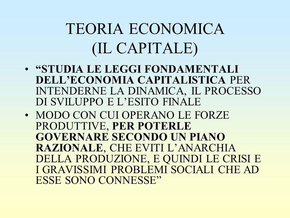 TEORIA ECONOMICA (IL CAPITALE) STUDIA LE LEGGI FONDAMENTALI DELL'ECONOMIA CAPITALISTICA PER INTENDERNE LA DINAMICA, IL PROCESSO DI SVILUPPO E L'ESITO FINALE MODO CON CUI OPERANO LE FORZE PRODUTTIVE, PER POTERLE GOVERNARE SECONDO UN PIANO RAZIONALE, CHE EVITI L'ANARCHIA DELLA PRODUZIONE, E QUINDI LE CRISI E I GRAVISSIMI PROBLEMI SOCIALI CHE AD ESSE SONO CONNESSE
