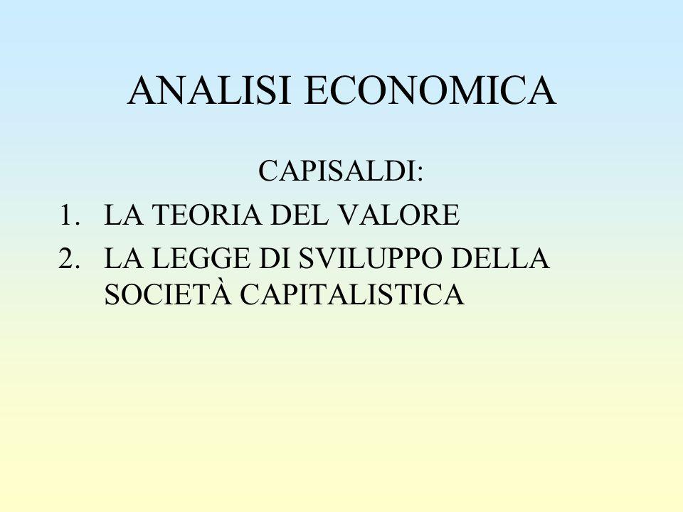 ANALISI ECONOMICA CAPISALDI: 1.LA TEORIA DEL VALORE 2.LA LEGGE DI SVILUPPO DELLA SOCIETÀ CAPITALISTICA