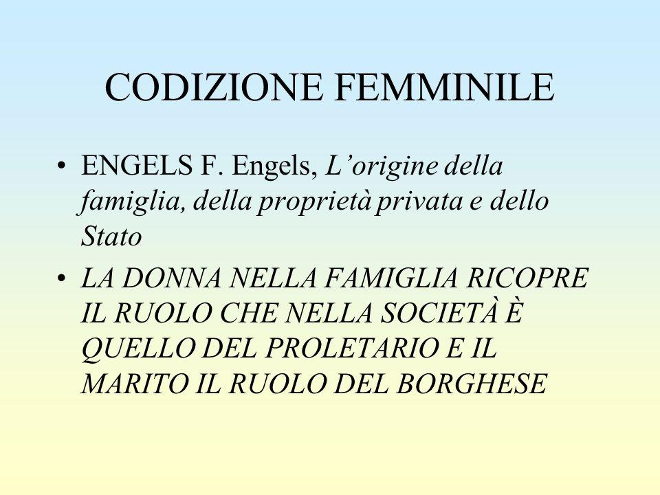 CODIZIONE FEMMINILE ENGELS F. Engels, L'origine della famiglia, della proprietà privata e dello Stato LA DONNA NELLA FAMIGLIA RICOPRE IL RUOLO CHE NEL