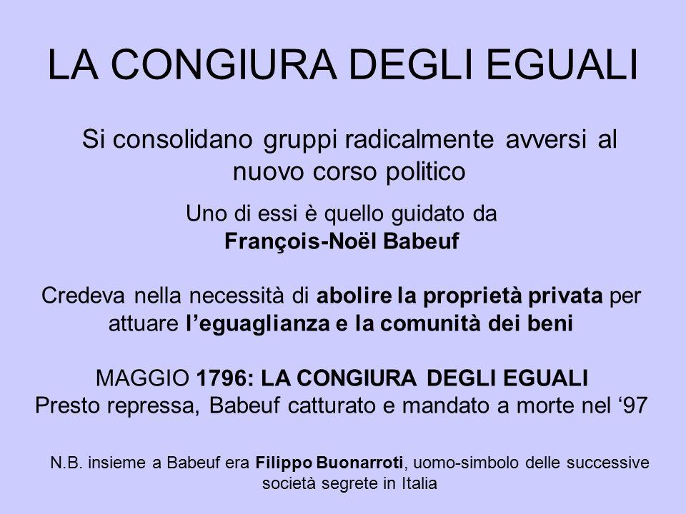 LA CONGIURA DEGLI EGUALI Si consolidano gruppi radicalmente avversi al nuovo corso politico Uno di essi è quello guidato da François-Noël Babeuf Crede