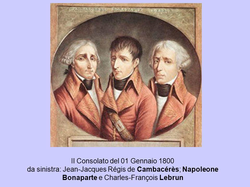 Il Consolato del 01 Gennaio 1800 da sinistra: Jean-Jacques Régis de Cambacérès; Napoleone Bonaparte e Charles-François Lebrun