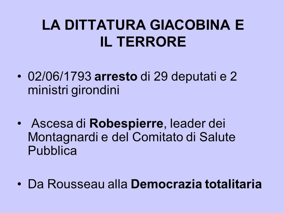 LA DITTATURA GIACOBINA E IL TERRORE 02/06/1793 arresto di 29 deputati e 2 ministri girondini Ascesa di Robespierre, leader dei Montagnardi e del Comit