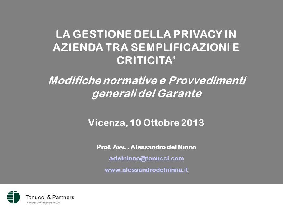 LA GESTIONE DELLA PRIVACY IN AZIENDA TRA SEMPLIFICAZIONI E CRITICITA' Modifiche normative e Provvedimenti generali del Garante Vicenza, 10 Ottobre 2013 Prof.