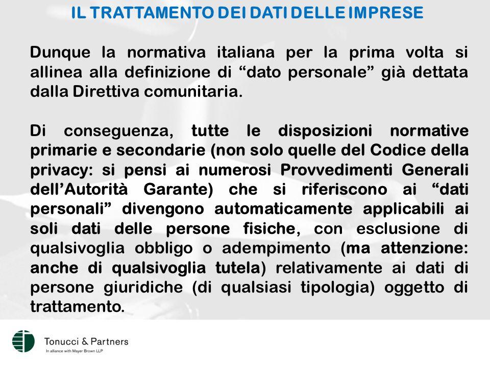 IL TRATTAMENTO DEI DATI DELLE IMPRESE Dunque la normativa italiana per la prima volta si allinea alla definizione di dato personale già dettata dalla Direttiva comunitaria.