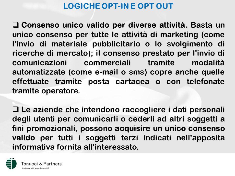 LOGICHE OPT-IN E OPT OUT  Consenso unico valido per diverse attività.