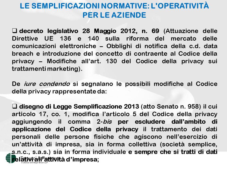 LE SEMPLIFICAZIONI NORMATIVE: L OPERATIVITÀ PER LE AZIENDE  decreto legislativo 28 Maggio 2012, n.