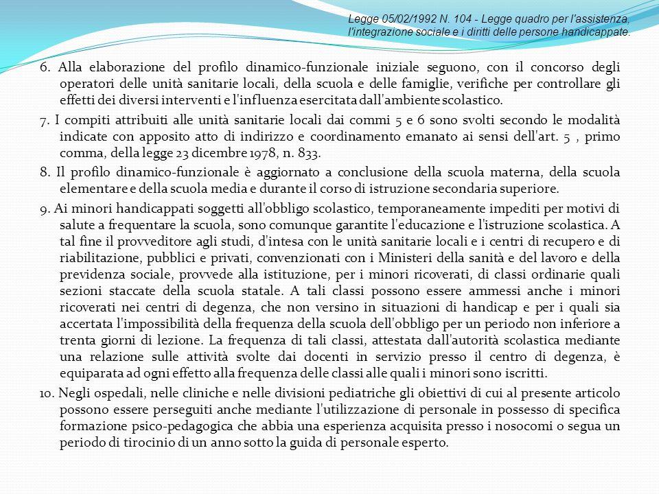 6. Alla elaborazione del profilo dinamico-funzionale iniziale seguono, con il concorso degli operatori delle unità sanitarie locali, della scuola e de