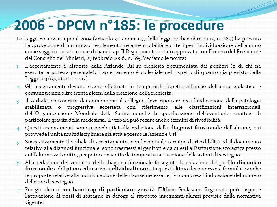 2006 - DPCM n°185: le procedure La Legge Finanziaria per il 2003 (articolo 35, comma 7, della legge 27 dicembre 2002, n. 289) ha previsto l'approvazio