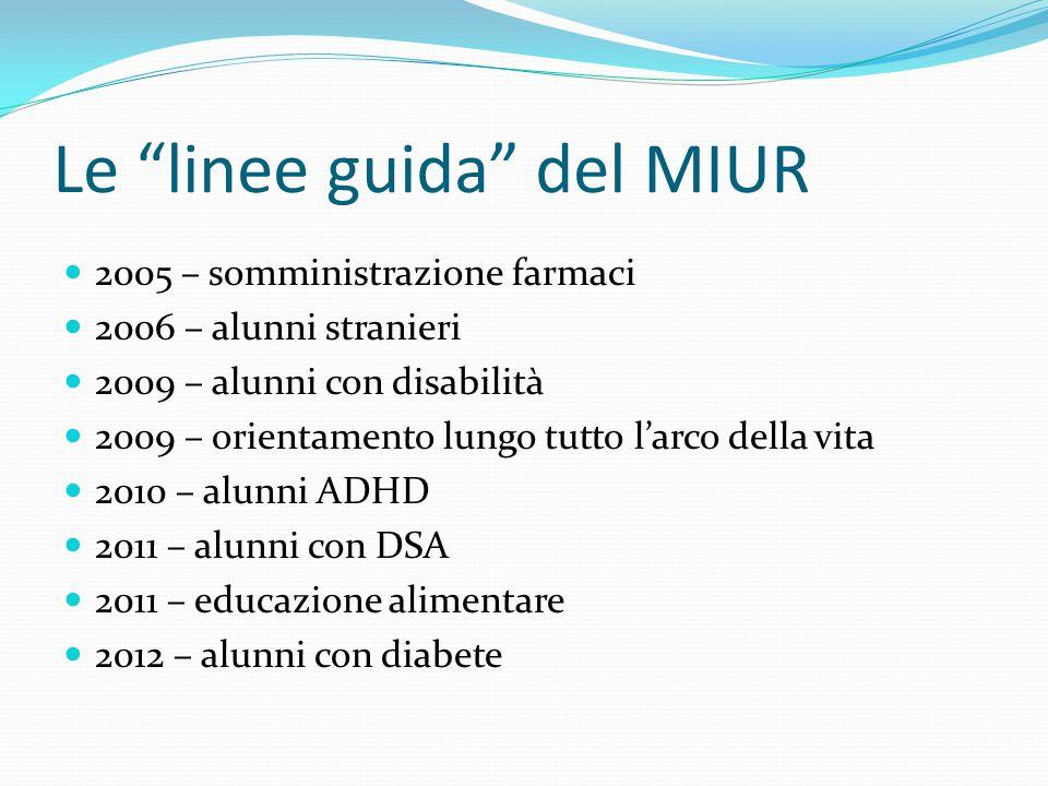 """Le """"linee guida"""" del MIUR 2005 – somministrazione farmaci 2006 – alunni stranieri 2009 – alunni con disabilità 2009 – orientamento lungo tutto l'arco"""