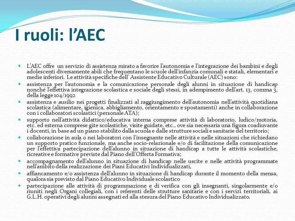 I ruoli: l'AEC L'AEC offre un servizio di assistenza mirato a favorire l'autonomia e l'integrazione dei bambini e degli adolescenti diversamente abili