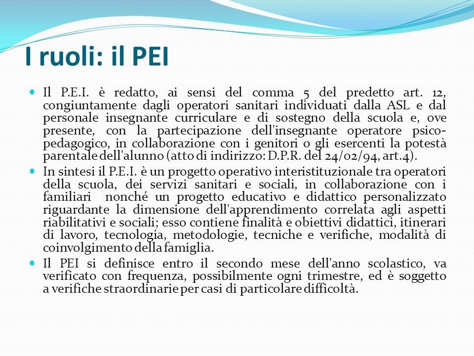 I ruoli: il PEI Il P.E.I. è redatto, ai sensi del comma 5 del predetto art. 12, congiuntamente dagli operatori sanitari individuati dalla ASL e dal pe