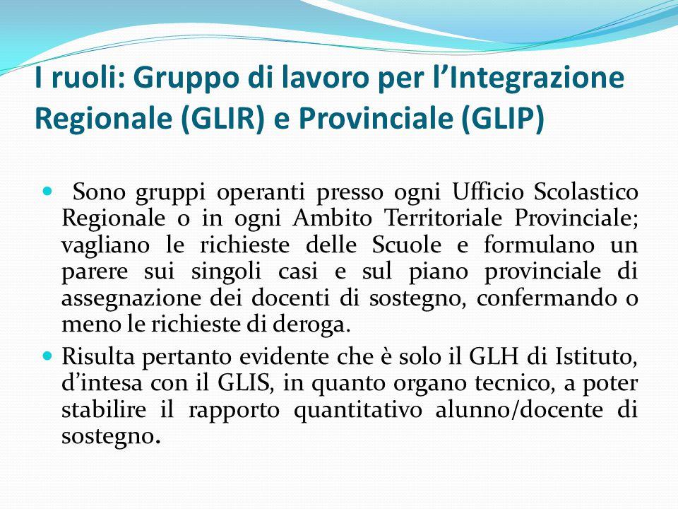 I ruoli: Gruppo di lavoro per l'Integrazione Regionale (GLIR) e Provinciale (GLIP) Sono gruppi operanti presso ogni Ufficio Scolastico Regionale o in