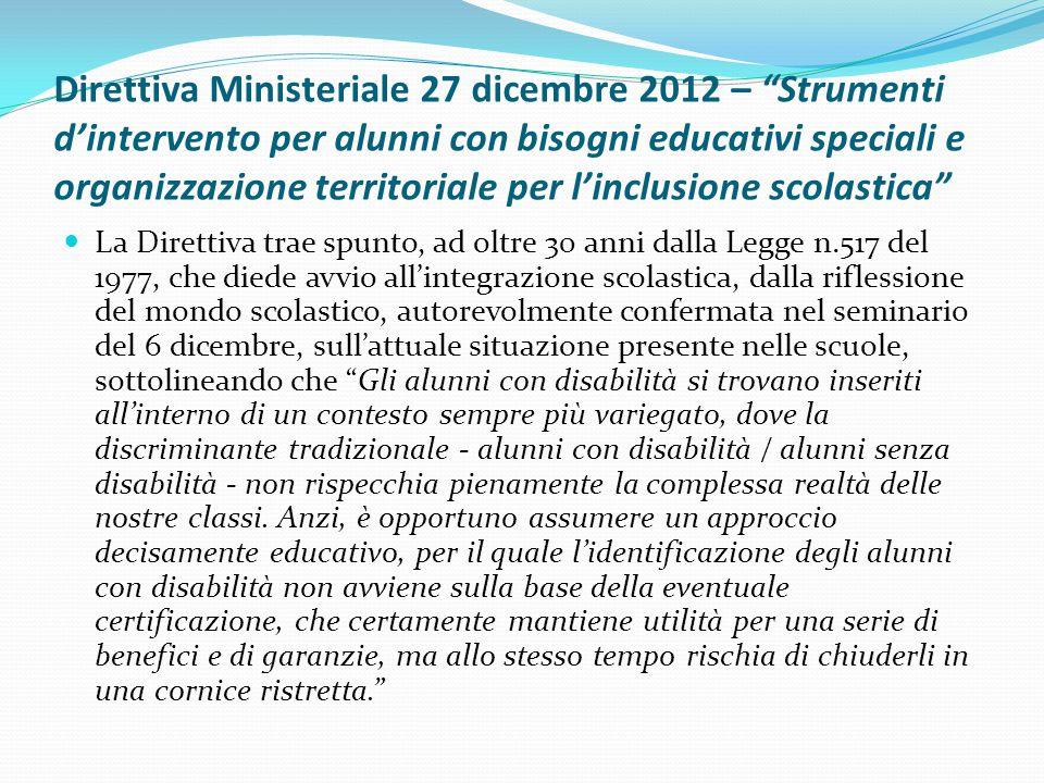 """Direttiva Ministeriale 27 dicembre 2012 – """"Strumenti d'intervento per alunni con bisogni educativi speciali e organizzazione territoriale per l'inclus"""