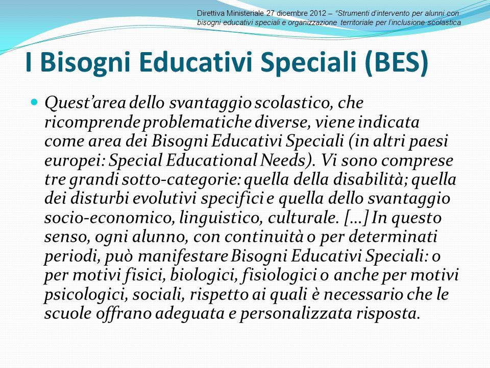 I Bisogni Educativi Speciali (BES) Quest'area dello svantaggio scolastico, che ricomprende problematiche diverse, viene indicata come area dei Bisogni