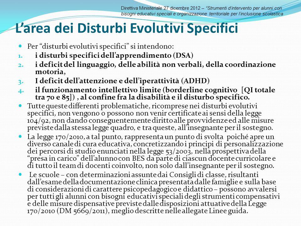 """L'area dei Disturbi Evolutivi Specifici Per """"disturbi evolutivi specifici"""" si intendono: 1. i disturbi specifici dell'apprendimento (DSA) 2. i deficit"""