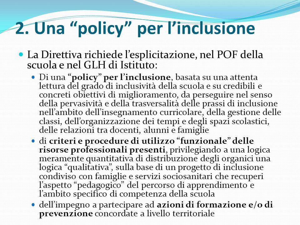 """2. Una """"policy"""" per l'inclusione La Direttiva richiede l'esplicitazione, nel POF della scuola e nel GLH di Istituto: Di una """"policy"""" per l'inclusione,"""