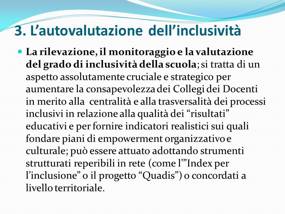 3. L'autovalutazione dell'inclusività La rilevazione, il monitoraggio e la valutazione del grado di inclusività della scuola; si tratta di un aspetto