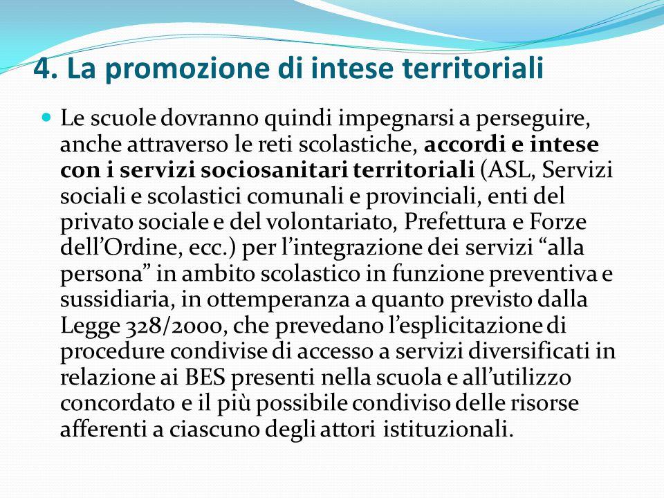4. La promozione di intese territoriali Le scuole dovranno quindi impegnarsi a perseguire, anche attraverso le reti scolastiche, accordi e intese con