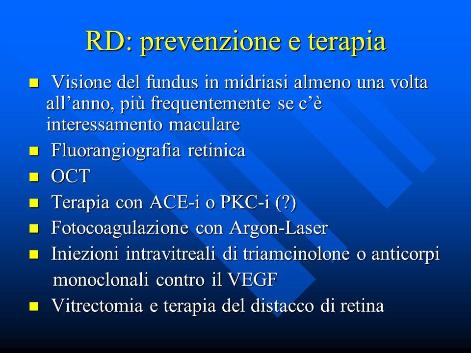 RD: prevenzione e terapia Visione del fundus in midriasi almeno una volta all'anno, più frequentemente se c'è interessamento maculare Visione del fundus in midriasi almeno una volta all'anno, più frequentemente se c'è interessamento maculare Fluorangiografia retinica Fluorangiografia retinica OCT OCT Terapia con ACE-i o PKC-i (?) Terapia con ACE-i o PKC-i (?) Fotocoagulazione con Argon-Laser Fotocoagulazione con Argon-Laser Iniezioni intravitreali di triamcinolone o anticorpi Iniezioni intravitreali di triamcinolone o anticorpi monoclonali contro il VEGF monoclonali contro il VEGF Vitrectomia e terapia del distacco di retina Vitrectomia e terapia del distacco di retina