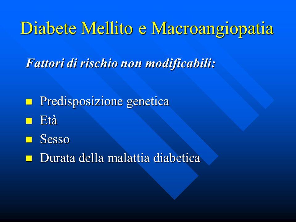 Diabete Mellito e Macroangiopatia Fattori di rischio non modificabili: Predisposizione genetica Predisposizione genetica Età Età Sesso Sesso Durata della malattia diabetica Durata della malattia diabetica