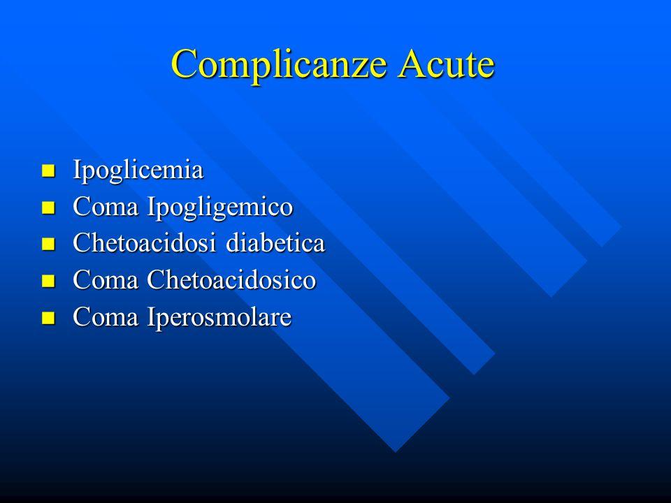 Complicanze Acute Ipoglicemia Ipoglicemia Coma Ipogligemico Coma Ipogligemico Chetoacidosi diabetica Chetoacidosi diabetica Coma Chetoacidosico Coma Chetoacidosico Coma Iperosmolare Coma Iperosmolare