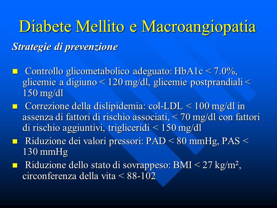 Diabete Mellito e Macroangiopatia Strategie di prevenzione Controllo glicometabolico adeguato: HbA1c < 7.0%, glicemie a digiuno < 120 mg/dl, glicemie postprandiali < 150 mg/dl Controllo glicometabolico adeguato: HbA1c < 7.0%, glicemie a digiuno < 120 mg/dl, glicemie postprandiali < 150 mg/dl Correzione della dislipidemia: col-LDL < 100 mg/dl in assenza di fattori di rischio associati, < 70 mg/dl con fattori di rischio aggiuntivi, trigliceridi < 150 mg/dl Correzione della dislipidemia: col-LDL < 100 mg/dl in assenza di fattori di rischio associati, < 70 mg/dl con fattori di rischio aggiuntivi, trigliceridi < 150 mg/dl Riduzione dei valori pressori: PAD < 80 mmHg, PAS < 130 mmHg Riduzione dei valori pressori: PAD < 80 mmHg, PAS < 130 mmHg Riduzione dello stato di sovrappeso: BMI < 27 kg/m 2, circonferenza della vita < 88-102 Riduzione dello stato di sovrappeso: BMI < 27 kg/m 2, circonferenza della vita < 88-102