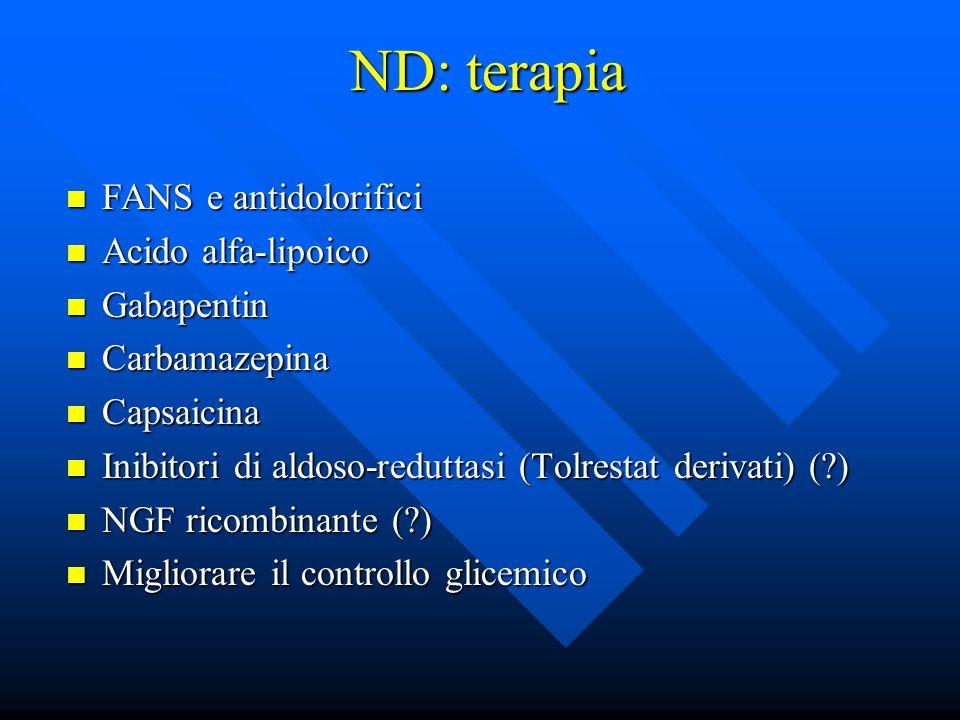 ND: terapia FANS e antidolorifici FANS e antidolorifici Acido alfa-lipoico Acido alfa-lipoico Gabapentin Gabapentin Carbamazepina Carbamazepina Capsaicina Capsaicina Inibitori di aldoso-reduttasi (Tolrestat derivati) (?) Inibitori di aldoso-reduttasi (Tolrestat derivati) (?) NGF ricombinante (?) NGF ricombinante (?) Migliorare il controllo glicemico Migliorare il controllo glicemico