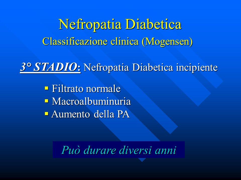 Nefropatia Diabetica Classificazione clinica (Mogensen) 3° STADIO : Nefropatia Diabetica incipiente  Filtrato normale  Macroalbuminuria  Aumento della PA Può durare diversi anni