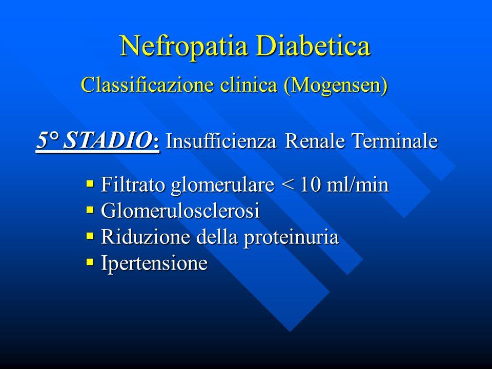 Nefropatia Diabetica Classificazione clinica (Mogensen) 5° STADIO : Insufficienza Renale Terminale  Filtrato glomerulare < 10 ml/min  Glomerulosclerosi  Riduzione della proteinuria  Ipertensione