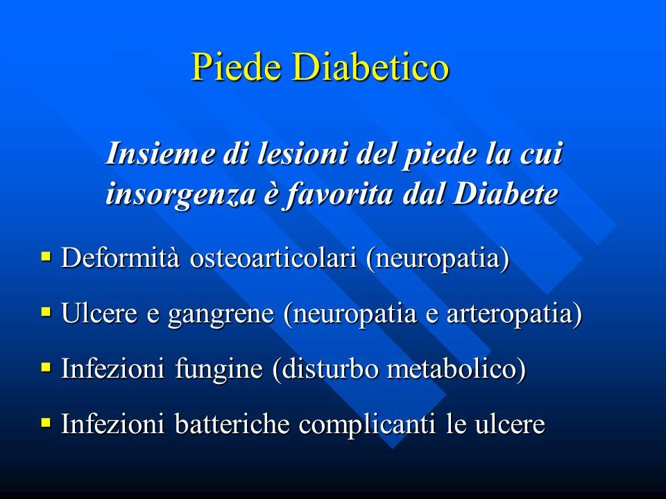 Piede Diabetico Insieme di lesioni del piede la cui insorgenza è favorita dal Diabete  Deformità osteoarticolari (neuropatia)  Ulcere e gangrene (neuropatia e arteropatia)  Infezioni fungine (disturbo metabolico)  Infezioni batteriche complicanti le ulcere