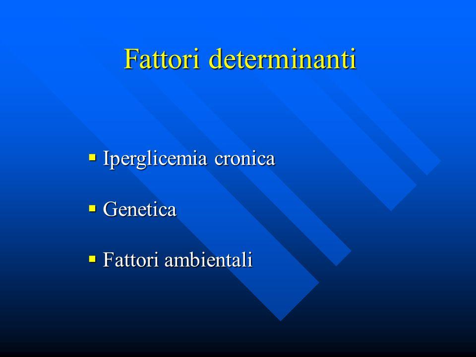 Fattori determinanti Fattori determinanti  Iperglicemia cronica  Genetica  Fattori ambientali