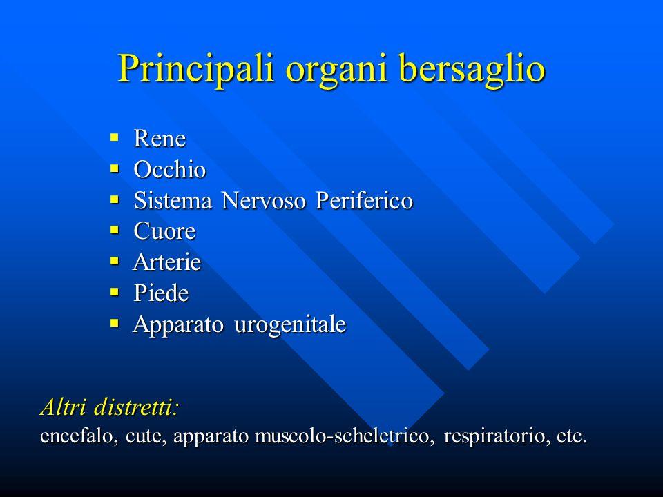 Rene  Rene  Occhio  Sistema Nervoso Periferico  Cuore  Arterie  Piede  Apparato urogenitale Altri distretti: encefalo, cute, apparato muscolo-scheletrico, respiratorio, etc.