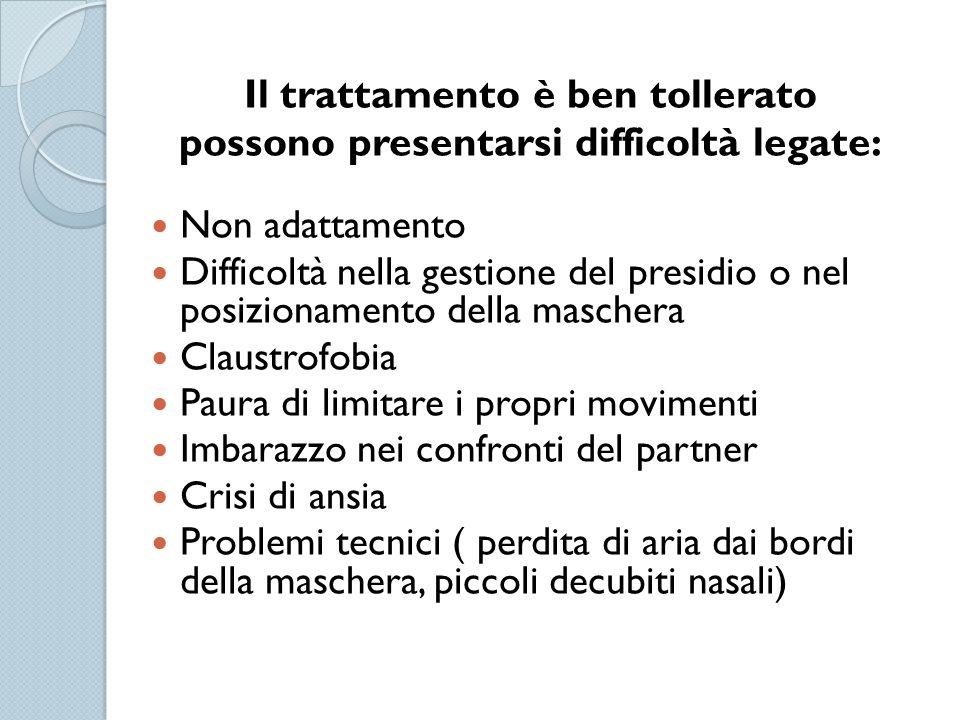 Il trattamento è ben tollerato possono presentarsi difficoltà legate: Non adattamento Difficoltà nella gestione del presidio o nel posizionamento dell