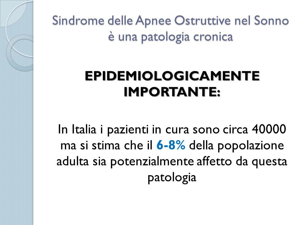 Sindrome delle Apnee Ostruttive nel Sonno è una patologia cronica EPIDEMIOLOGICAMENTE IMPORTANTE: In Italia i pazienti in cura sono circa 40000 ma si